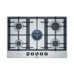 Bosch PCQ7A5B90 75Cm, 5 Burners, 4Kw Wok Burner, Flameselect, Cast Iron Supports, Star Layout
