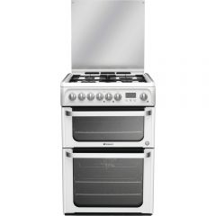 Hotpoint HUD61P Dual Fuel Cooker Double Oven Dual fuel Programmable Timer, Individual Pan Supports,