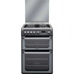 Hotpoint HUG61G Gas Cooker Double Oven Gas , Glass Lid, Programmable Timer, Individual Pan Supports,