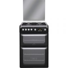 Hotpoint HUG61K Gas Cooker Double Oven Gas , Glass Lid, Programmable Timer, Individual Pan Supports,