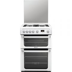 Hotpoint HUG61P Gas Cooker Double Oven Gas , Glass Lid, Programmable Timer, Individual Pan Supports,