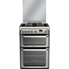 Hotpoint HUG61X Gas Cooker Double Oven Gas , Glass Lid, Programmable Timer, Individual Pan Supports,
