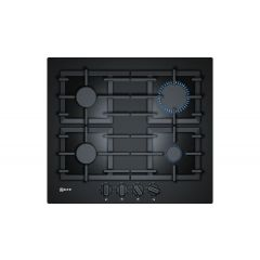 Neff T26CS49S0 60Cm Black Tempered Glass, 4 Burner, Cast Iron Supports, Flameselect