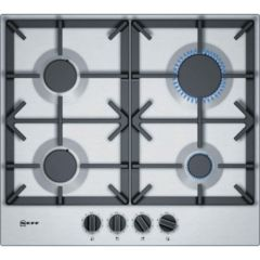 Neff T26DS49N0 Gas Hob 4 Burners, Cast Iron Pan Supports Stainless Steel