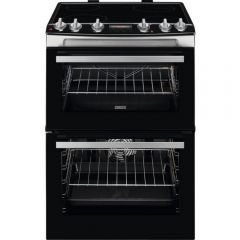 Zanussi ZCV66078XA 60Cm Electric Double Oven With Ceramic Hob - Stainless Steel - A/A Rated